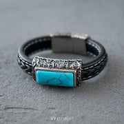 Turquoise Decal Leather 316L Stainless Steel Bracelet