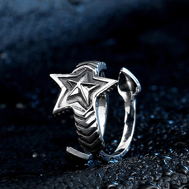 Titanium Steel Double Arrow Star Ring