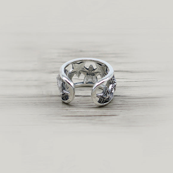 Hollowed Eight Star Solid 925 Silver Open Ring