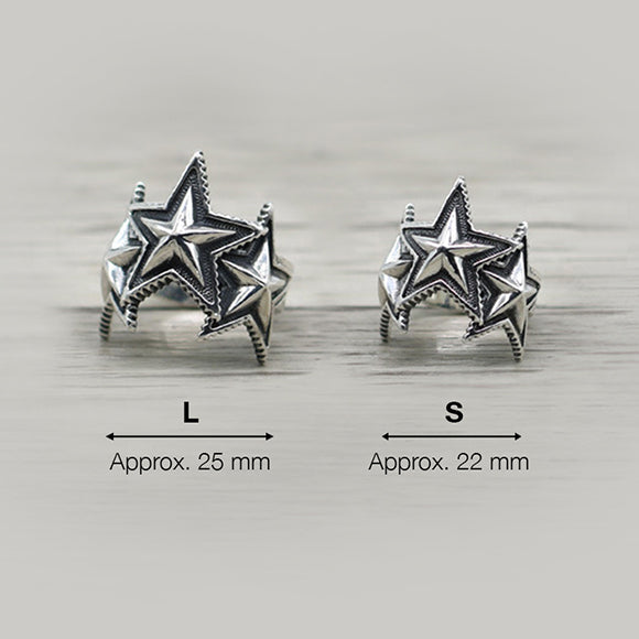 Triple Star Open Ring 925 Sterling Silver