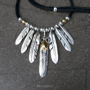 Takahashi Goro's Style Solid 925 Silver Feather Pendants Necklace
