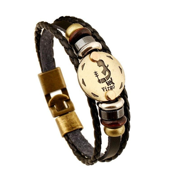 Zodiac Signs Black Gallstone Leather Bracele