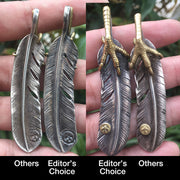 Handcrafted Solid Sterling Silver Eagle Claw Feather Pendant Necklace