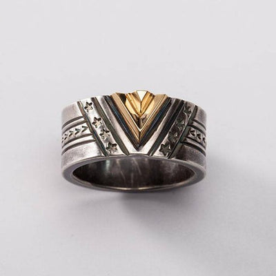 Victory 18K Gold Chevron Geometric Band Ring Solid Sterling Silver