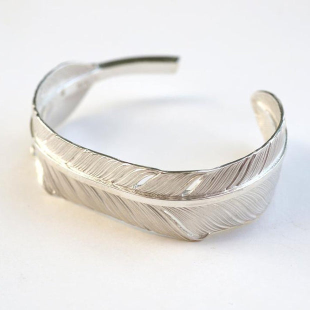Native American Inspired Eagle Feather Silver Cuff Bangle Bracelet