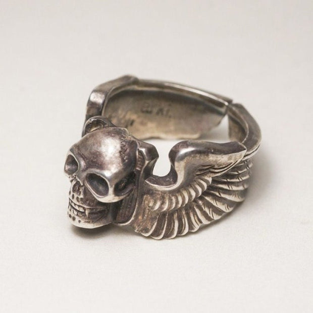 Silver Skull Ring WW2 USAAF Air Force US Flying Tigers Pilot Badge Wings Ring