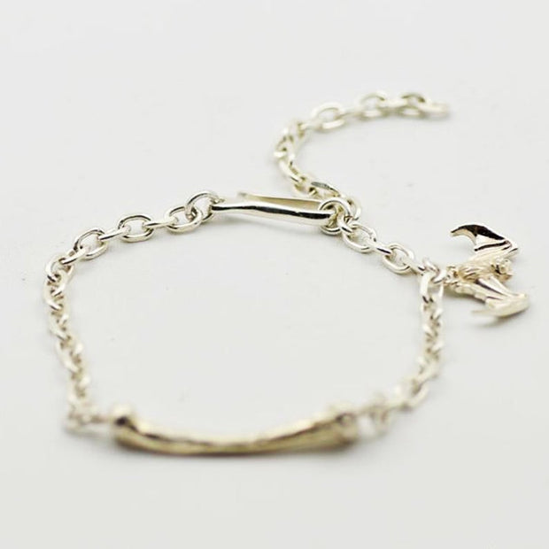 Silver Bone with Bat Charm Link Chain Bracelet