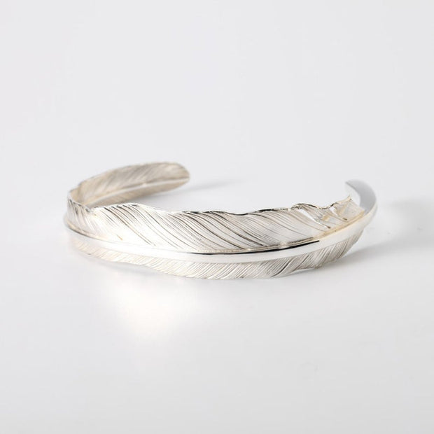 Silver Feather Bangle Bracelet Native American Inspired Silver Eagle Feather Cuff Bracelet