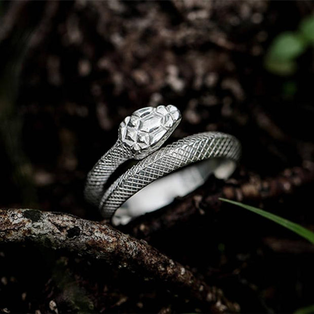 Silver Viper Serpent Ring Snake Wrap Ring