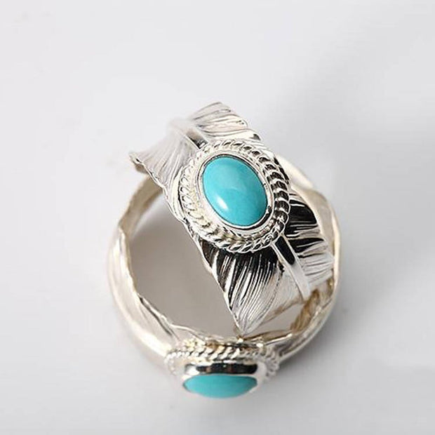 Silver Feather Ring Natural Turquoise Swedish Damascus Steel Inlaid