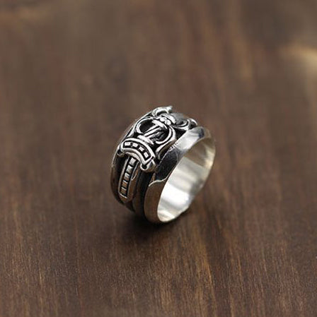 Dagger Ring Gothic Punk Rock Biker 925 Sterling Silver Ring