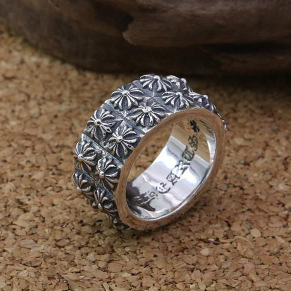 Small Cross Balls Ring 925 Sterling Silver