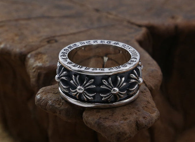 Cross Ball Ring 925 Sterling Silver