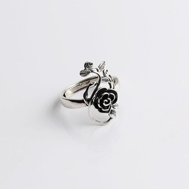 Silver Rose with Vine Wrap Ring Floral Flower Ring