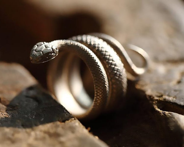 Silver Snake Wrap Ring Viper Serpent Snake Ring Solid 925 Sterling Silver