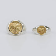 18K Gold Ancient Greek Coin Ring Signet  Sterling Silver Ring - Style A (L)
