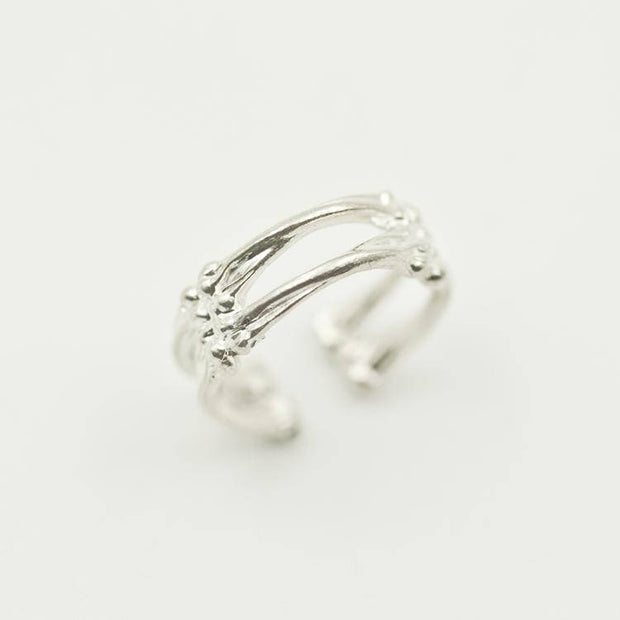 Silver Split Shank Bone Ring Pinky Ring Gothic Ring Punk Rock Biker Ring
