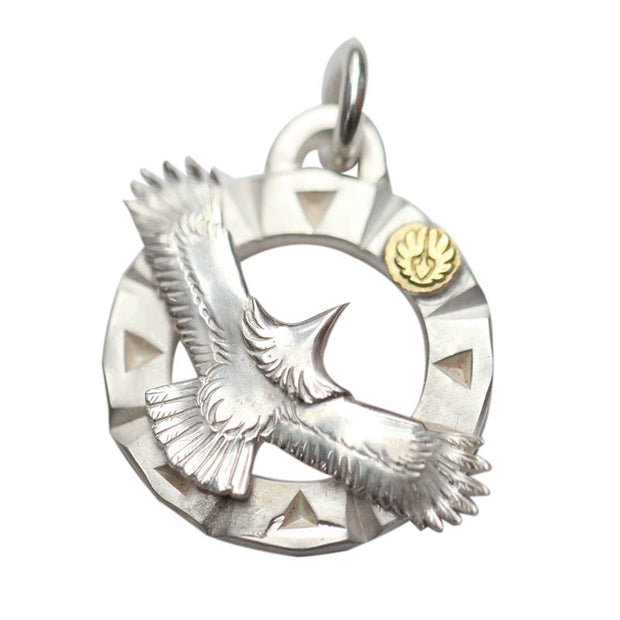 Spared Eagle Solid 925 Sterling Silver 18K Gold Pendant