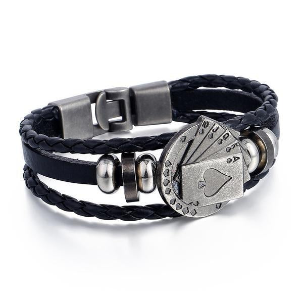 Poker Cards Charm Genuine Leather Cord Bracelet