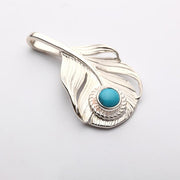 Silver Phoenix Feather Pendant Natural Turquoise Garnet Gemstone Charm Native American Inspired Tribal Jewelry