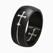 Black Stainless Steel Men's Ring with Separable Golden Cross