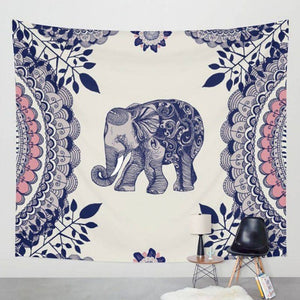 Boho Elephant Wall Hanging in Pink and Blue