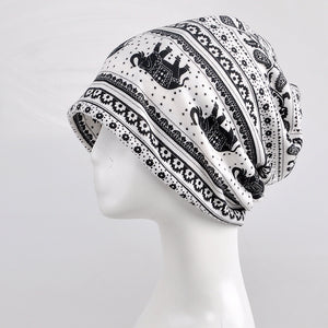 White - Indian Mandala Elephant Beanie