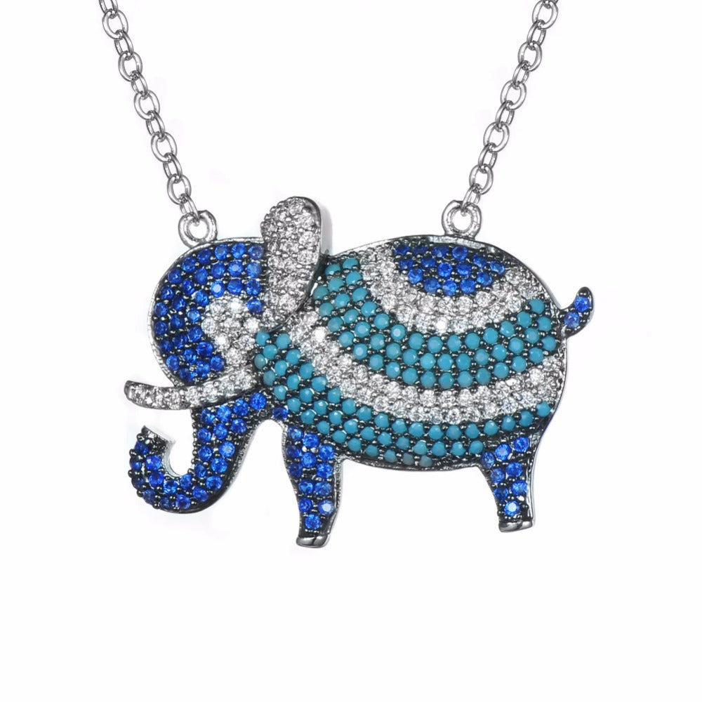 Blue Elephant Necklace