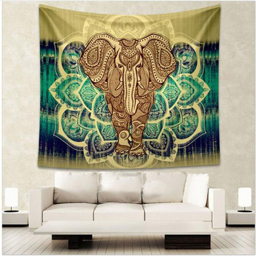 Bohemian Indian Elephant Mandala Tapestry
