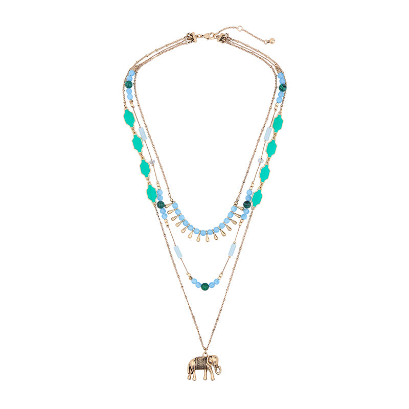 Blue Acrylic Elephant Necklace