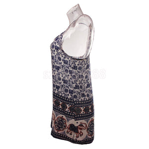 Boho Elephant Print Mini Dress