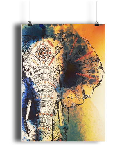 Elephant Drawing Portrait Print