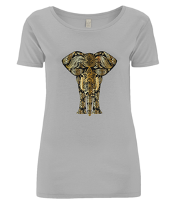 Gold Paisley Elephant Organic Cotton Open Neck T-Shirt