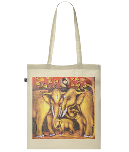 Indian Elephant Oil Painting Organic Cotton Tote Bag
