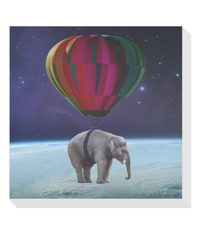 Elephant in Space Square Canvas