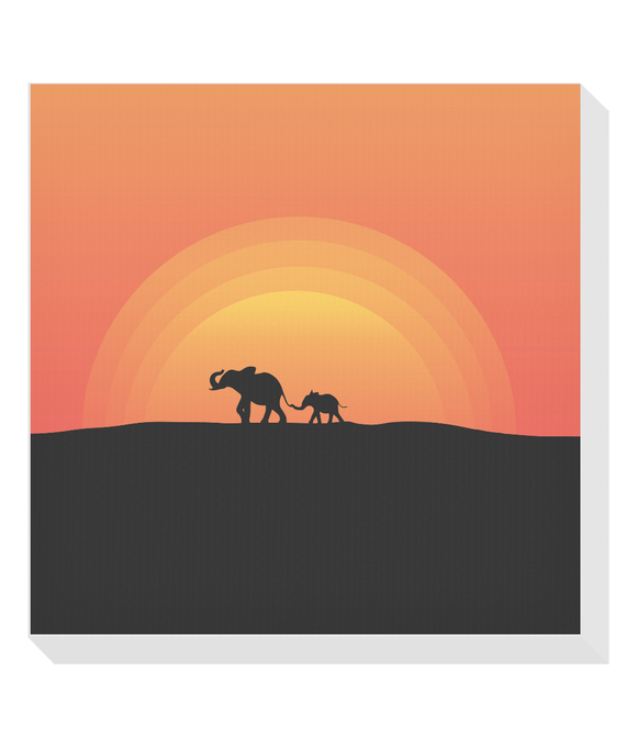 Elephant Silhouette in the Sunset Square Canvas