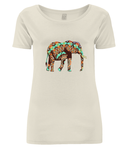 Mandala Elephant Organic Cotton Open Neck T-Shirt