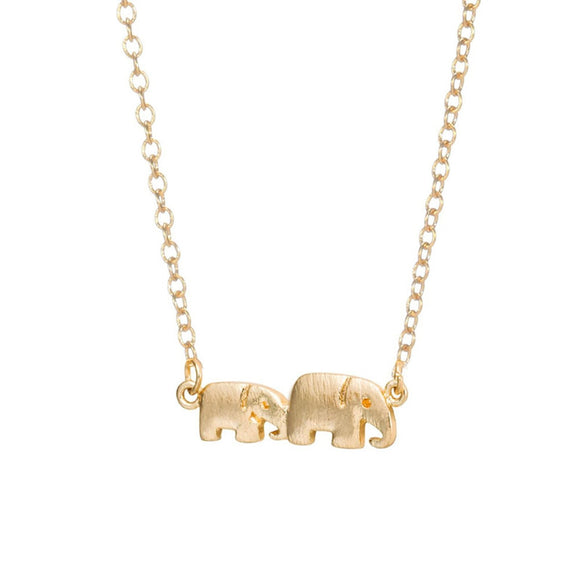 Baby and Mama Elephant Necklace in Gold