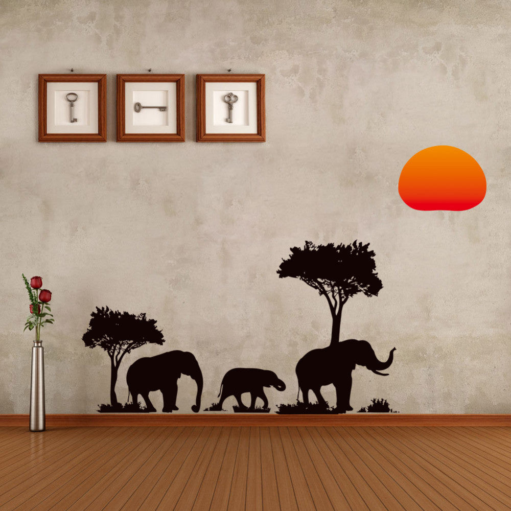 African Elephant Sunset Silhouette Wall Sticker Set