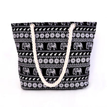 Elephant Print Rope Tote Bag