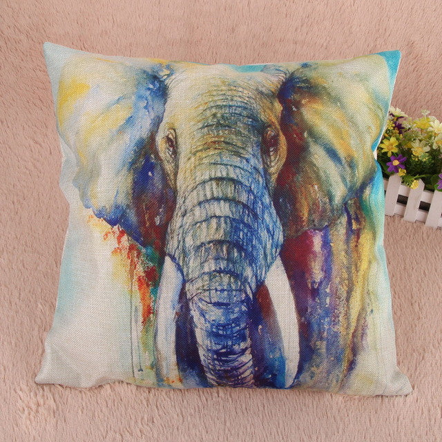 Watercolour Elephant Linen Cushion Cover
