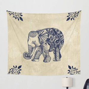 Boho Elephant Wall Hanging in Cream and Blue