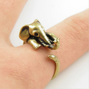 Adjustable Elephant Wraparound Ring in Gold