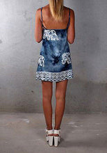 Boho Elephant Backless Summer Dress in Blue