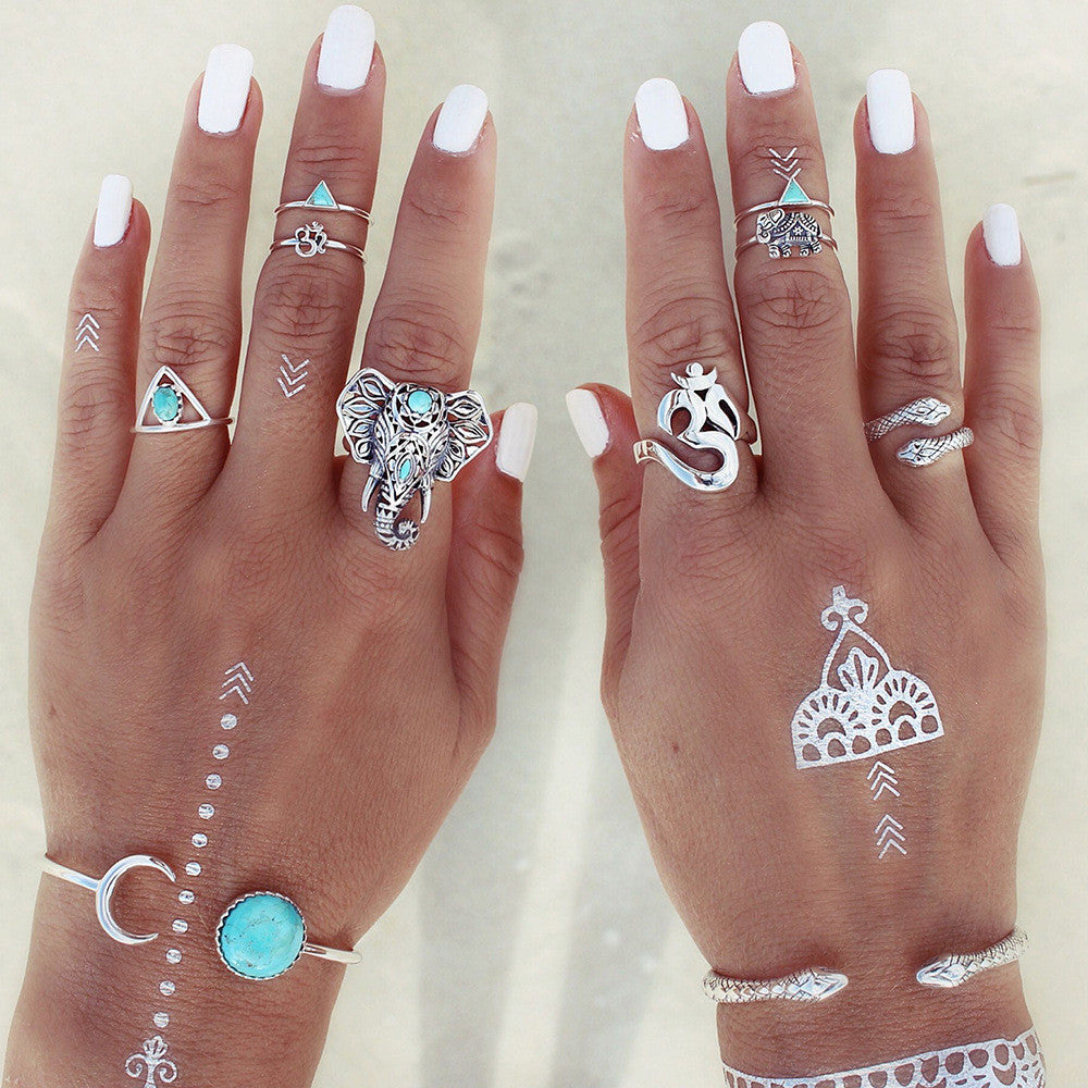 Boho Elephant Ring Set with Ohm, Snake and Midi Rings in Silver