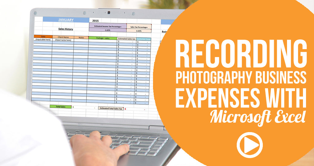 Recording finances for a photography business expenses with Microsoft Excel - button