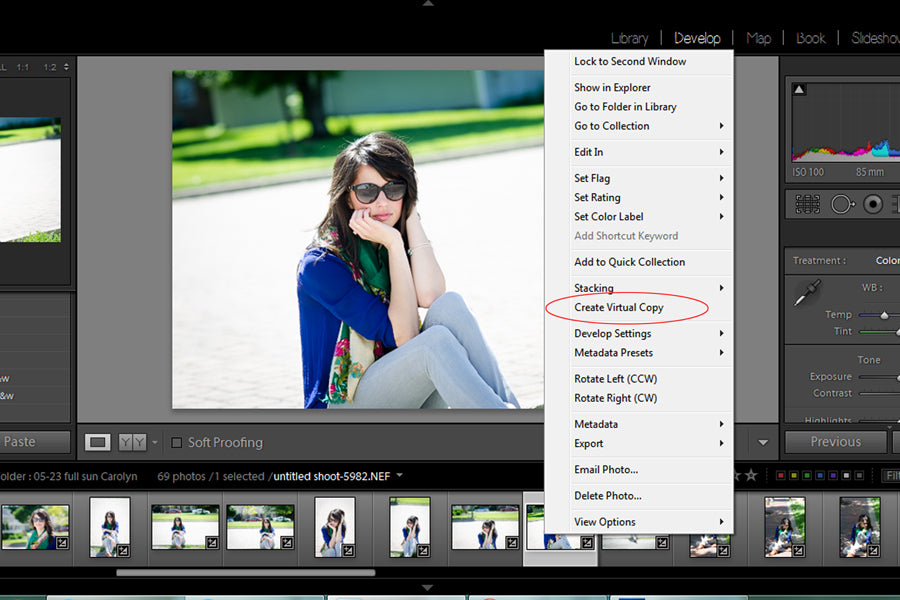 how to create a virtual copy in Lightroom