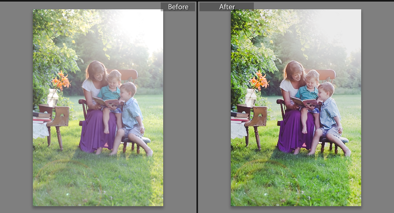 lightroom overexposed before and after