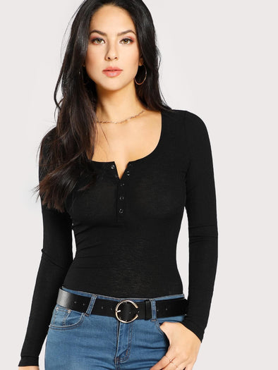 SHEIN Scoop Neck Rib Henley Shirt