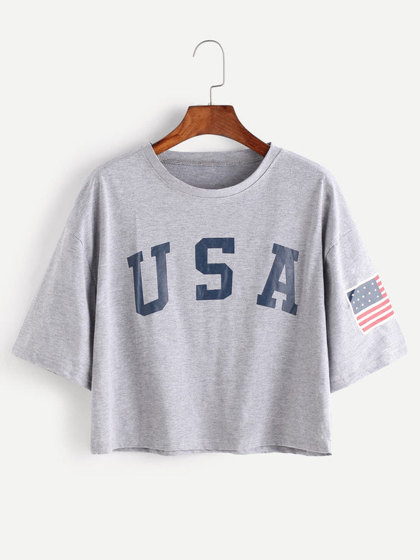 American Flag Letter Print Drop Shoulder Tee